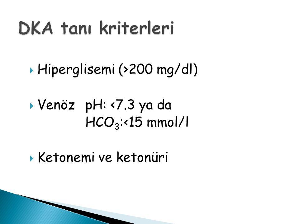  Hiperglisemi (>200 mg/dl)  Venöz pH: <7.3 ya da HCO 3 :<15 mmol/l  Ketonemi ve ketonüri