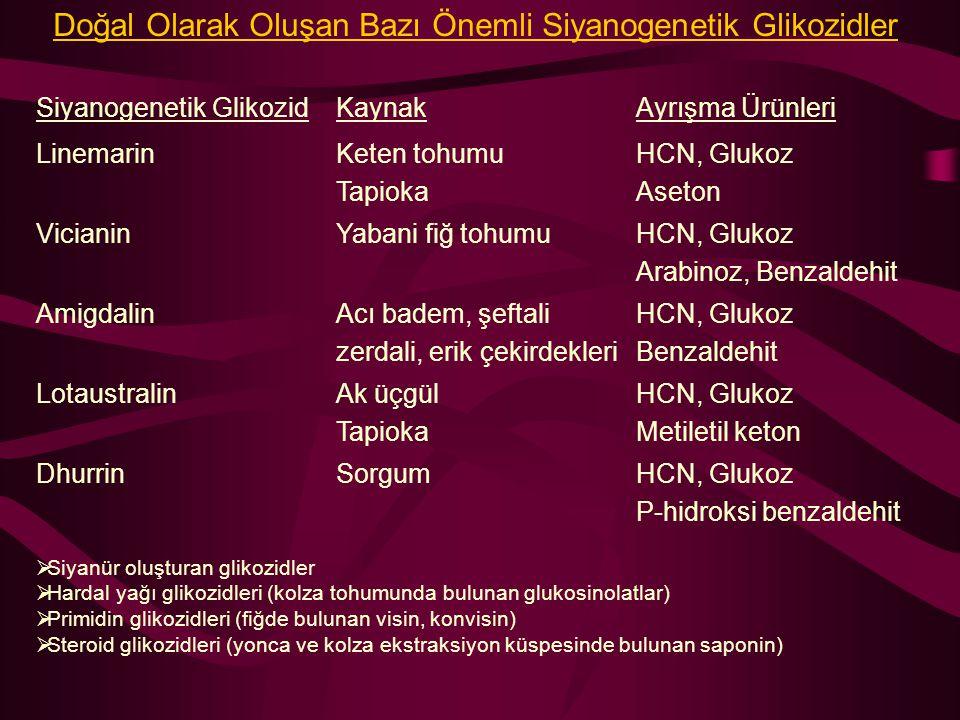 Doğal Olarak Oluşan Bazı Önemli Siyanogenetik Glikozidler Siyanogenetik GlikozidKaynakAyrışma Ürünleri LinemarinKeten tohumu Tapioka HCN, Glukoz Aseto