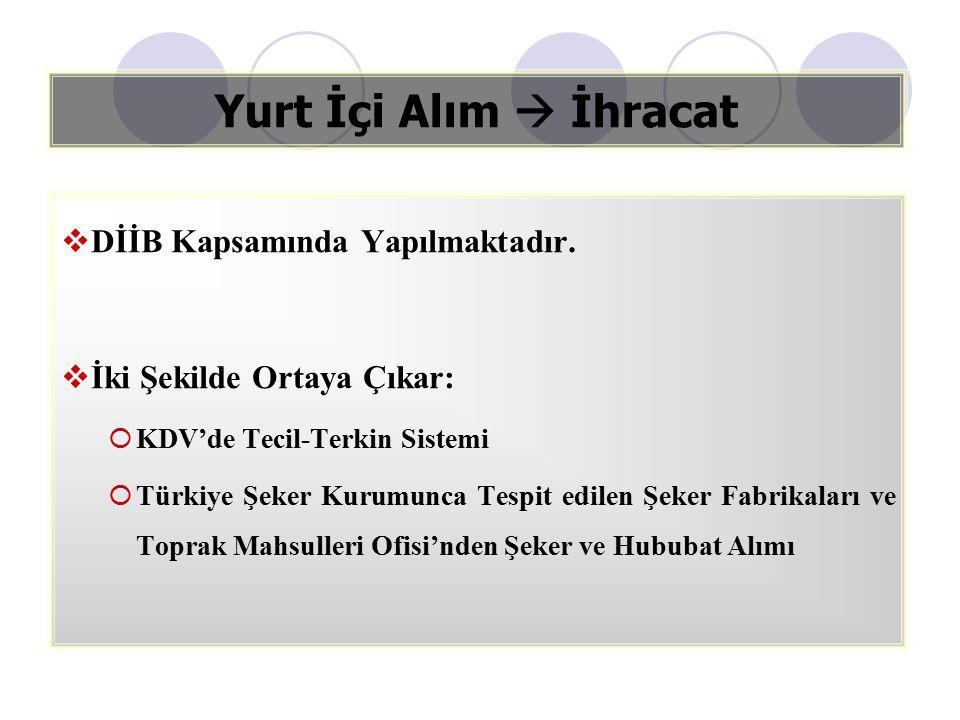 Yurt İçi Alım  İhracat  DİİB Kapsamında Yapılmaktadır.  İki Şekilde Ortaya Çıkar:  KDV'de Tecil-Terkin Sistemi  Türkiye Şeker Kurumunca Tespit ed