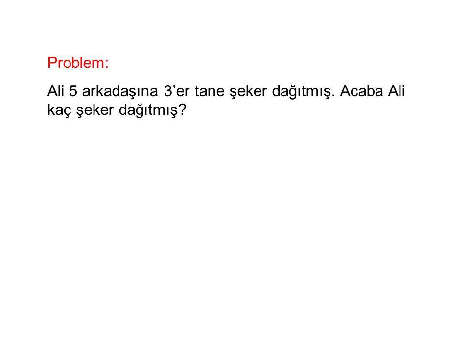 Problem: Ali 5 arkadaşına 3'er tane şeker dağıtmış. Acaba Ali kaç şeker dağıtmış?