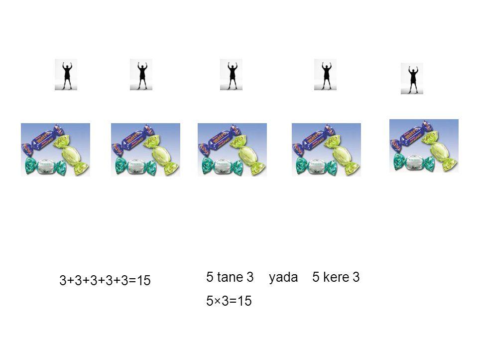 3+3+3+3+3=15 5 tane 3 yada 5 kere 3 5×3=15