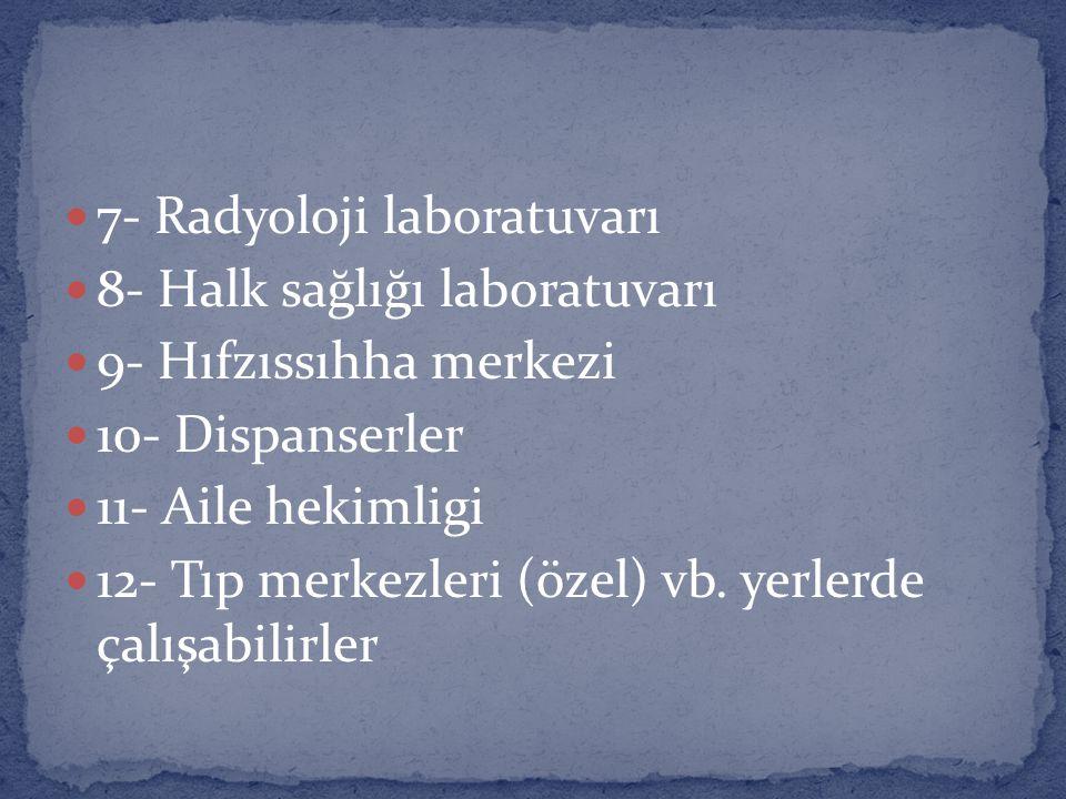 7- Radyoloji laboratuvarı 8- Halk sağlığı laboratuvarı 9- Hıfzıssıhha merkezi 10- Dispanserler 11- Aile hekimligi 12- Tıp merkezleri (özel) vb.