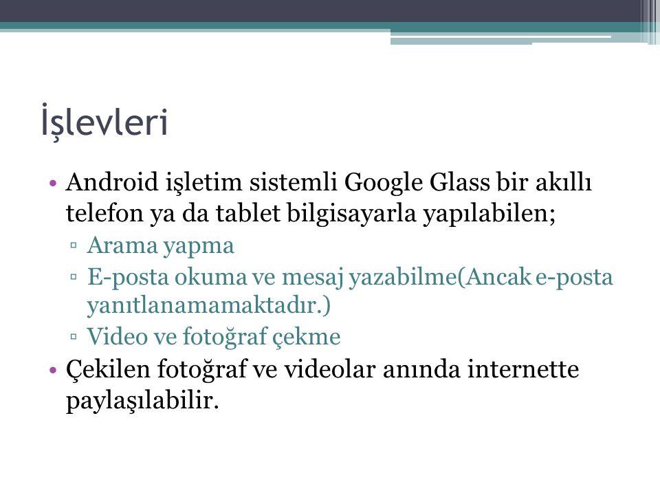 İşlevleri Android işletim sistemli Google Glass bir akıllı telefon ya da tablet bilgisayarla yapılabilen; ▫Arama yapma ▫E-posta okuma ve mesaj yazabilme(Ancak e-posta yanıtlanamamaktadır.) ▫Video ve fotoğraf çekme Çekilen fotoğraf ve videolar anında internette paylaşılabilir.