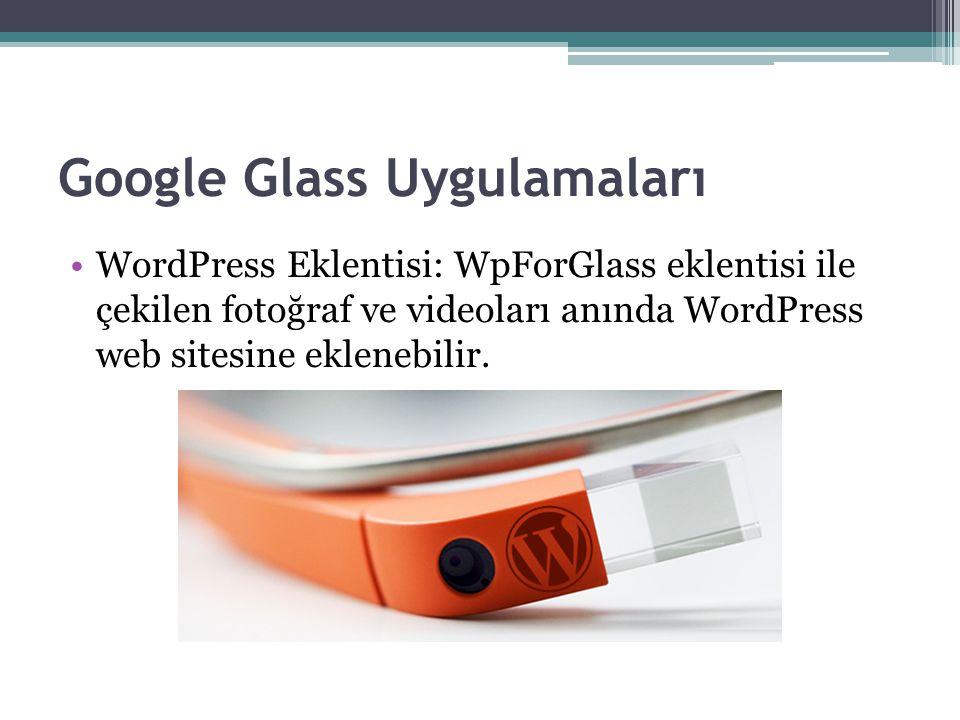 Google Glass Uygulamaları WordPress Eklentisi: WpForGlass eklentisi ile çekilen fotoğraf ve videoları anında WordPress web sitesine eklenebilir.