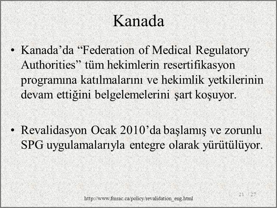 Kanada Kanada'da Federation of Medical Regulatory Authorities tüm hekimlerin resertifikasyon programına katılmalarını ve hekimlik yetkilerinin devam ettiğini belgelemelerini şart koşuyor.