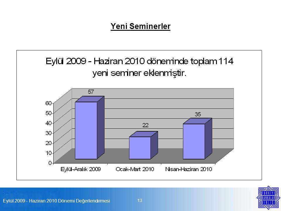 Eylül 2009 - Haziran 2010 Dönemi Değerlendirmesi 13 Yeni Seminerler
