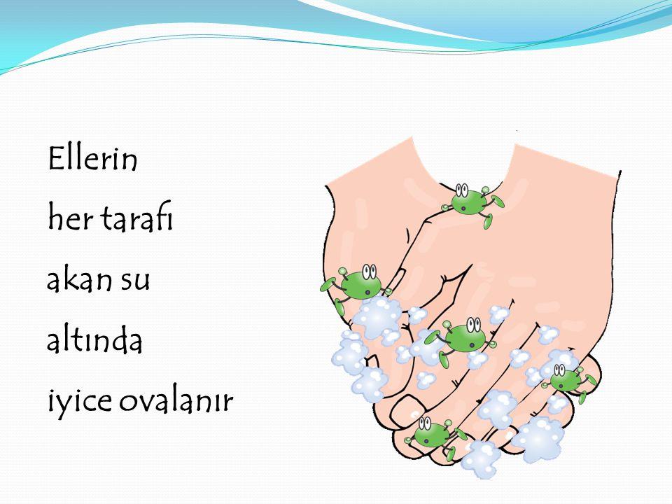 Ellerin her tarafı akan su altında iyice ovalanır