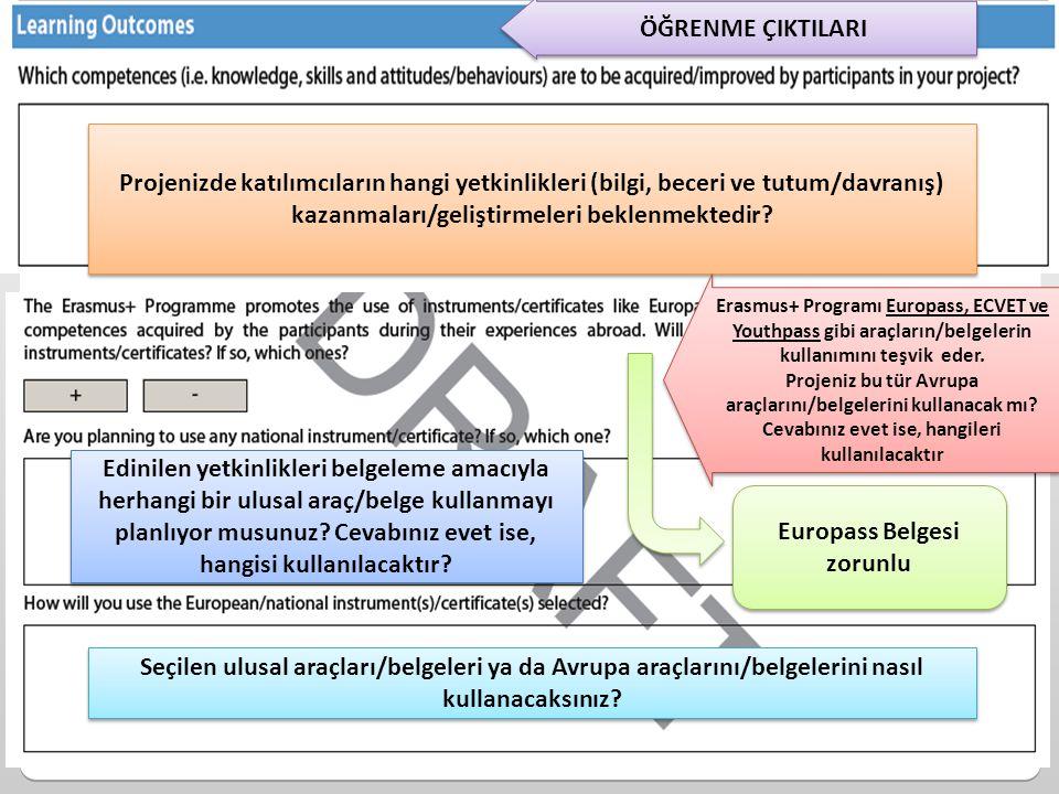 Projenizde katılımcıların hangi yetkinlikleri (bilgi, beceri ve tutum/davranış) kazanmaları/geliştirmeleri beklenmektedir? Edinilen yetkinlikleri belg