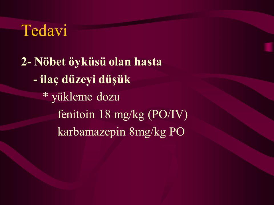 Tedavi 2- Nöbet öyküsü olan hasta - ilaç düzeyi düşük * yükleme dozu fenitoin 18 mg/kg (PO/IV) karbamazepin 8mg/kg PO