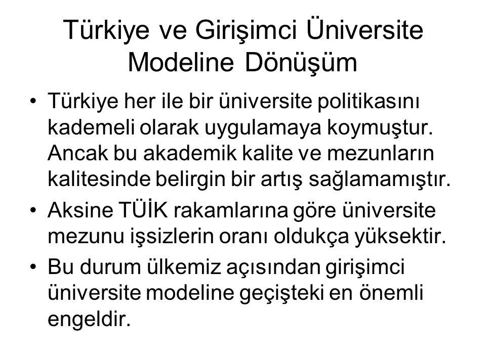 Türkiye ve Girişimci Üniversite Modeline Dönüşüm Türkiye her ile bir üniversite politikasını kademeli olarak uygulamaya koymuştur. Ancak bu akademik k
