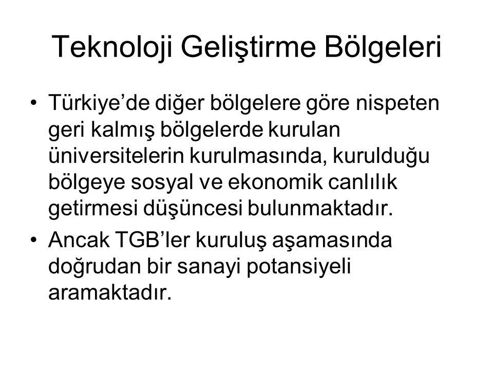 Teknoloji Geliştirme Bölgeleri Türkiye'de diğer bölgelere göre nispeten geri kalmış bölgelerde kurulan üniversitelerin kurulmasında, kurulduğu bölgeye