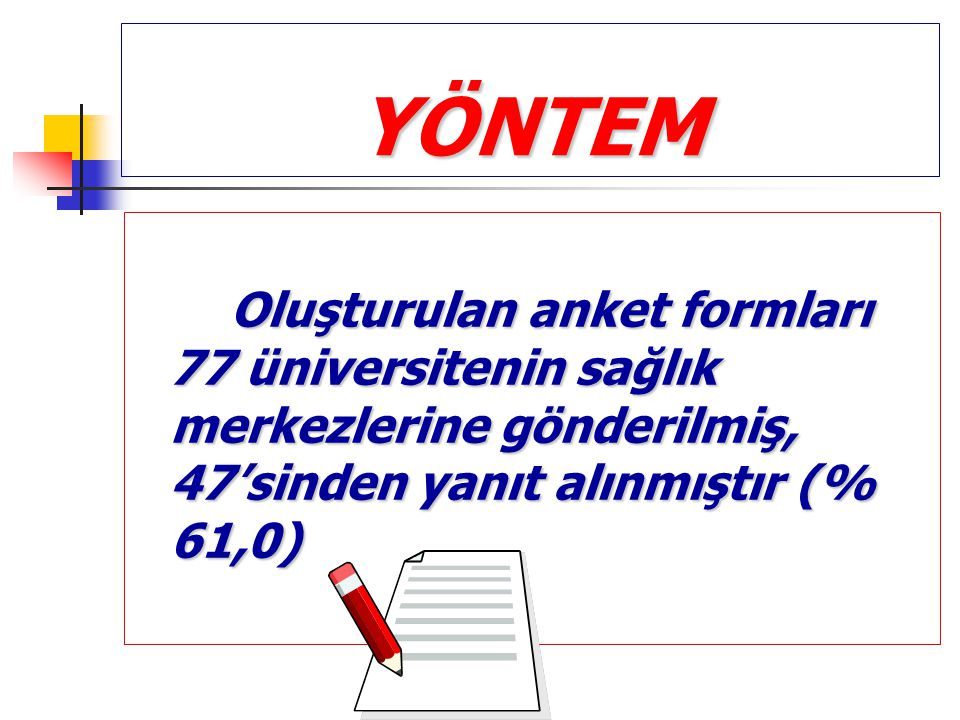 YÖNTEM Oluşturulan anket formları 77 üniversitenin sağlık merkezlerine gönderilmiş, 47'sinden yanıt alınmıştır (% 61,0)
