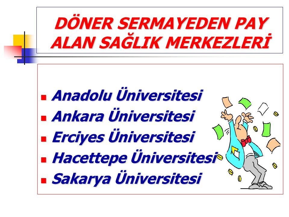 DÖNER SERMAYEDEN PAY ALAN SAĞLIK MERKEZLERİ Anadolu Üniversitesi Anadolu Üniversitesi Ankara Üniversitesi Ankara Üniversitesi Erciyes Üniversitesi Erc