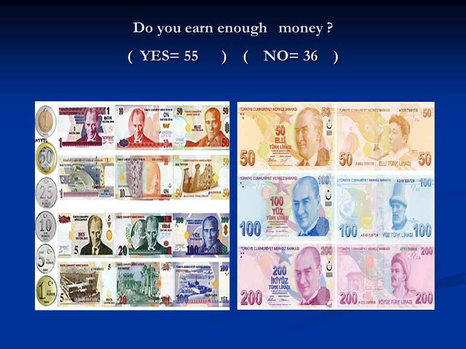 Do you earn enough money ( YES= 55 ) ( NO= 36 )