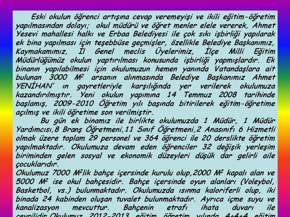 Belediye İlköğretim Okulu 1985 yılında Sayın Tokat Valisi Recep YAZICIOĞLU' nun Tokat Merkez ve köyleri dâhil, ilçe ve köylerde devlet-millet işbirliği ile başlattığı okul yapma kampanyası ile; demir, çimento ve kerestesi devlet tarafından karşılanarak aynı dönem Erbaa Belediye Başkanı olan Niyazi KIRIMCA önderliğinde arsa tahsisi ve işçiliği belediyece karşılanarak 04.11.1985 tarihinde Sayın Valimiz Recep YAZICIOĞLU ve daire amirlerinin katılımıyla yapılan törenle eğitim- öğretime açılmıştır.
