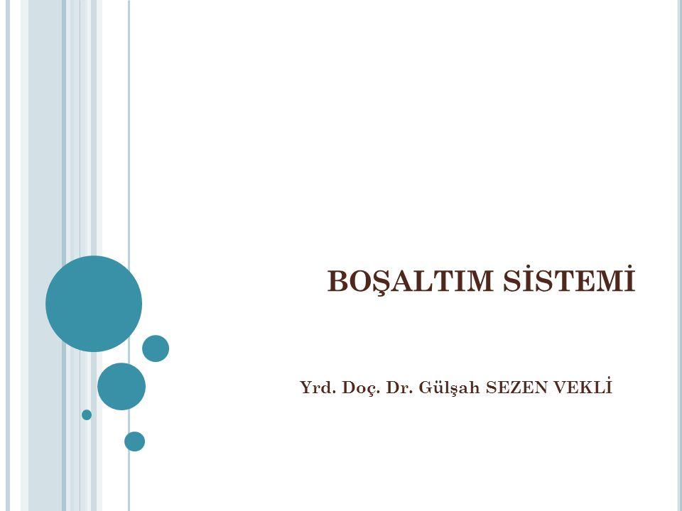 BOŞALTIM SİSTEMİ Yrd. Doç. Dr. Gülşah SEZEN VEKLİ