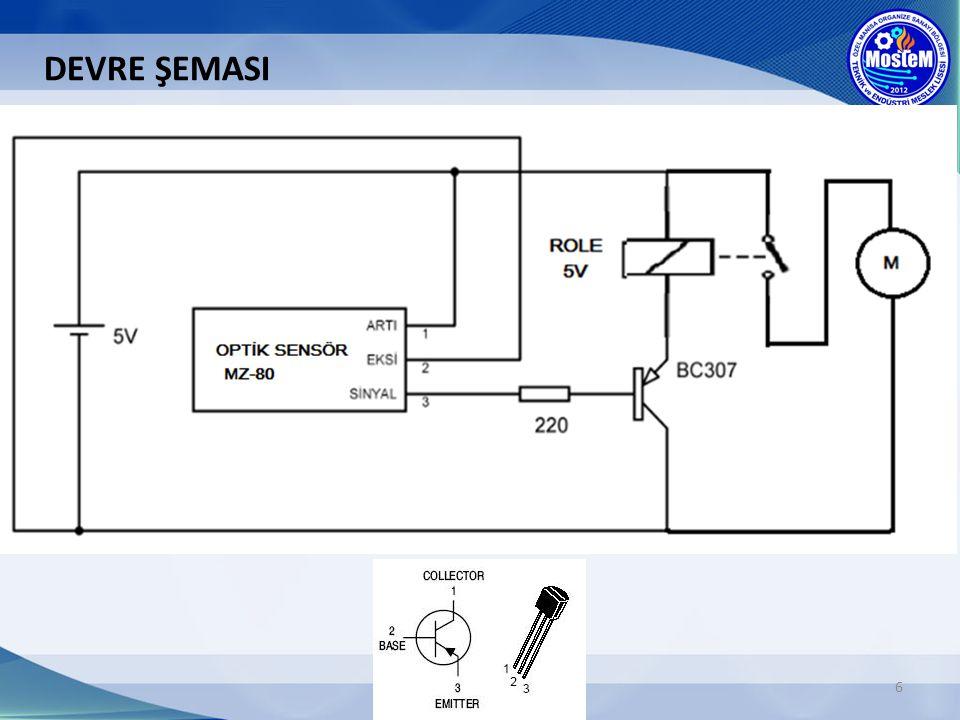 7 Devrenin çalışması Sensörün sinyal(çıkış) ucu, PNP tipi transistörün beyz ucuna bağlıdır.
