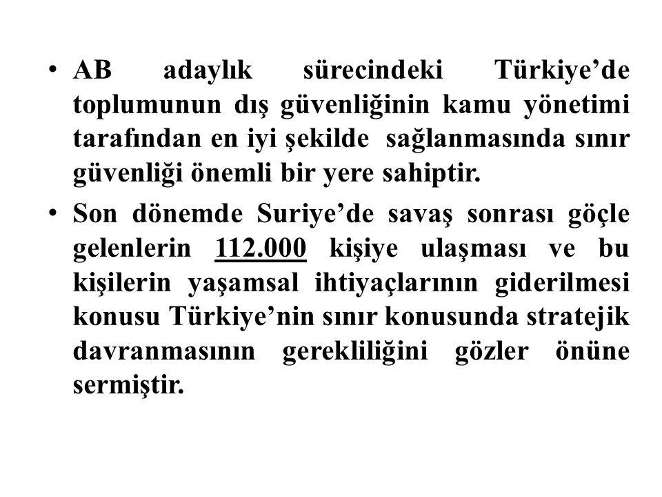 AB adaylık sürecindeki Türkiye'de toplumunun dış güvenliğinin kamu yönetimi tarafından en iyi şekilde sağlanmasında sınır güvenliği önemli bir yere sa