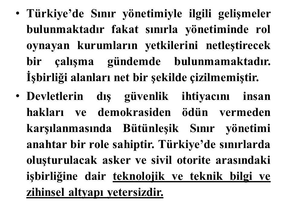 Türkiye'de Sınır yönetimiyle ilgili gelişmeler bulunmaktadır fakat sınırla yönetiminde rol oynayan kurumların yetkilerini netleştirecek bir çalışma gü