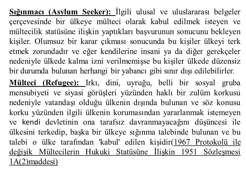 Sığınmacı (Asylum Seeker): İlgili ulusal ve uluslararası belgeler çerçevesinde bir ülkeye mülteci olarak kabul edilmek isteyen ve mültecilik statüsüne