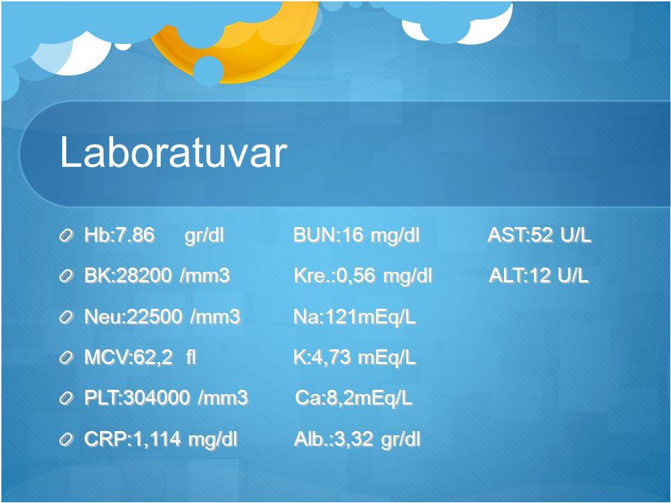 Laboratuvar Hb:7.86 gr/dl BUN:16 mg/dl AST:52 U/L BK:28200 /mm3 Kre.:0,56 mg/dl ALT:12 U/L Neu:22500 /mm3 Na:121mEq/L MCV:62,2 fl K:4,73 mEq/L PLT:304