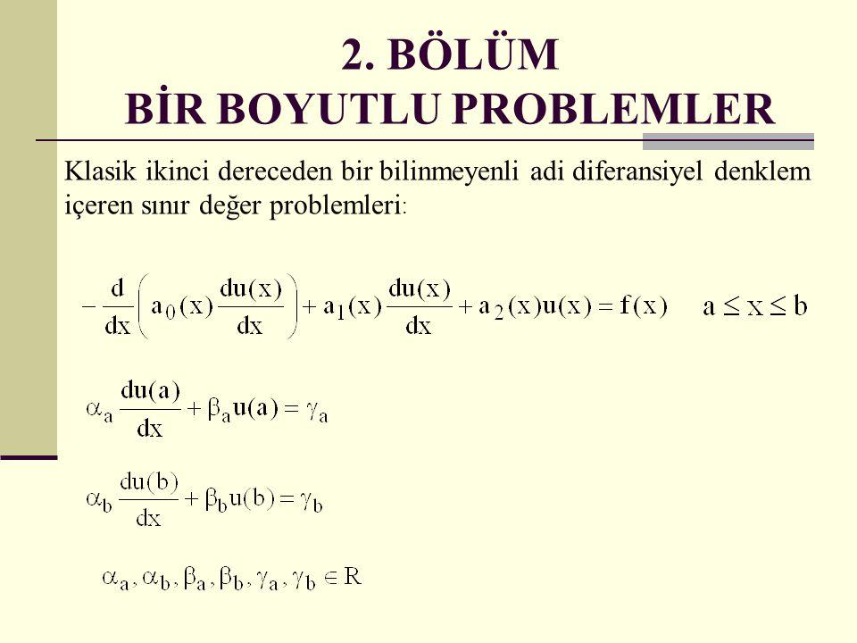 2. BÖLÜM BİR BOYUTLU PROBLEMLER Klasik ikinci dereceden bir bilinmeyenli adi diferansiyel denklem içeren sınır değer problemleri :
