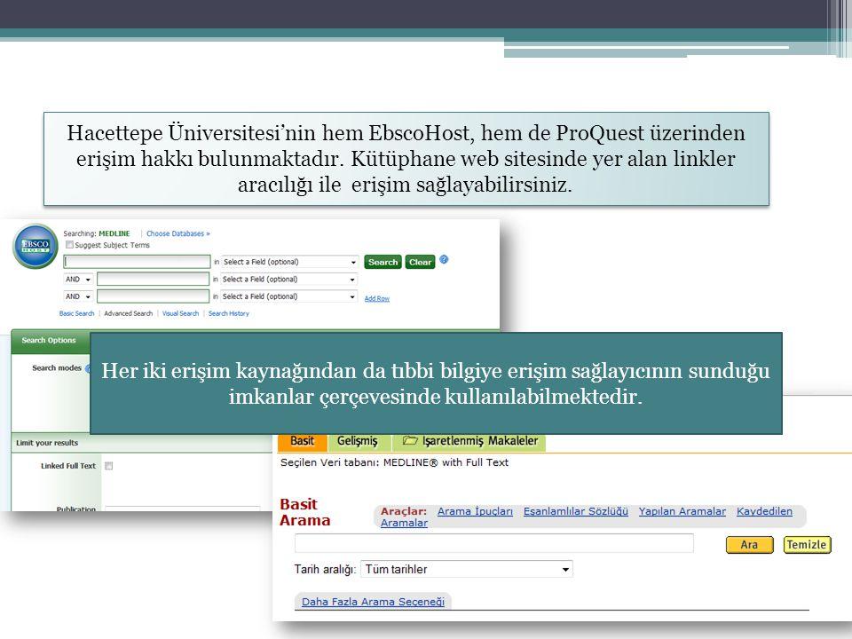 Hacettepe Üniversitesi'nin hem EbscoHost, hem de ProQuest üzerinden erişim hakkı bulunmaktadır. Kütüphane web sitesinde yer alan linkler aracılığı ile