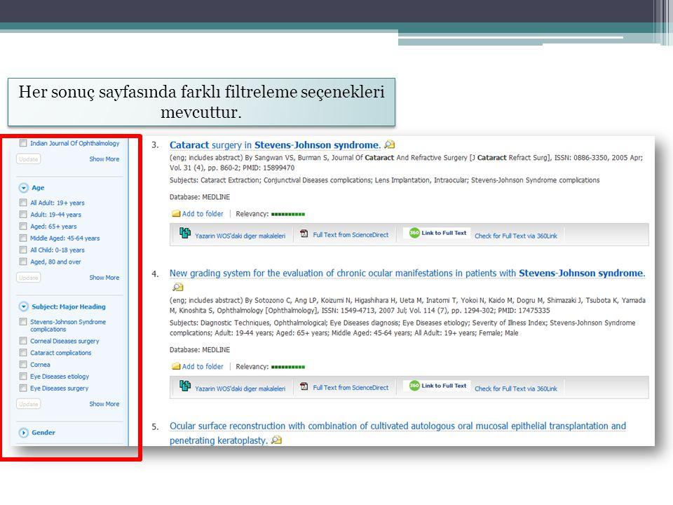 Her sonuç sayfasında farklı filtreleme seçenekleri mevcuttur.
