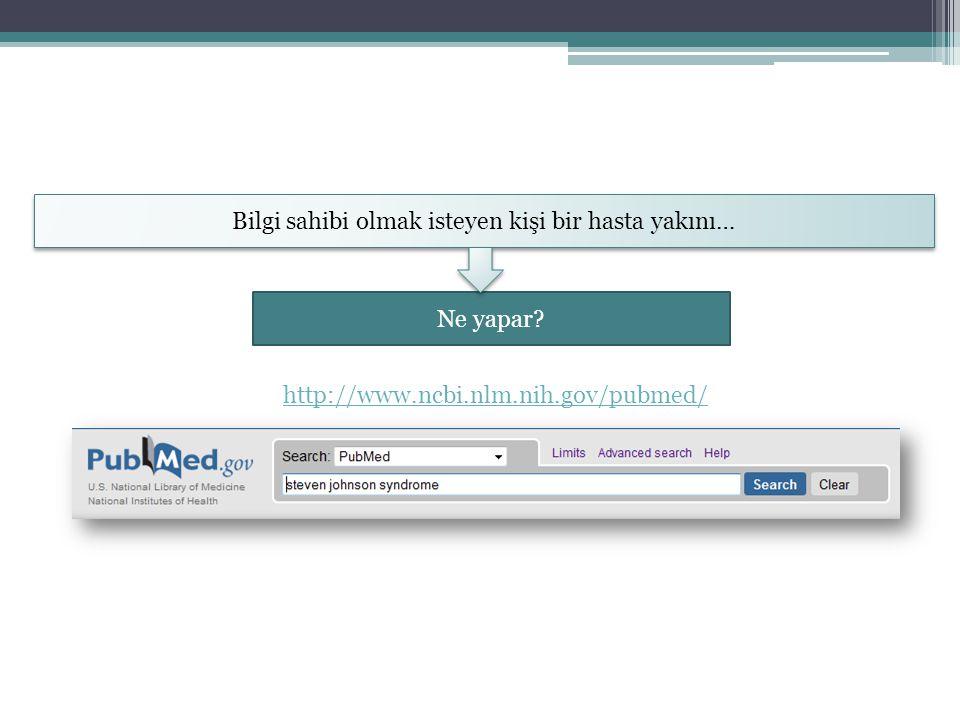 Bilgi sahibi olmak isteyen kişi bir hasta yakını… Ne yapar? http://www.ncbi.nlm.nih.gov/pubmed/