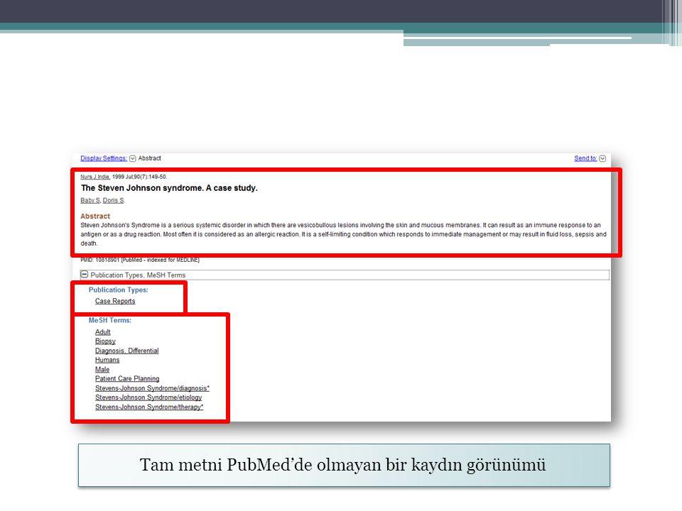 Tam metni PubMed'de olmayan bir kaydın görünümü
