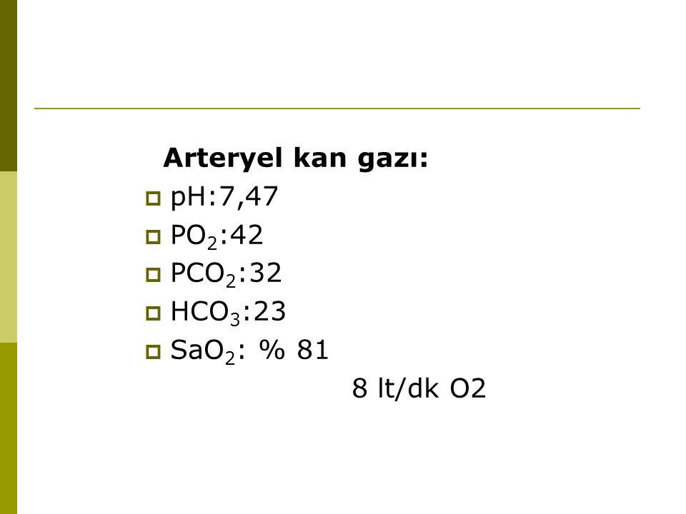 Arteryel kan gazı:  pH:7,47  PO 2 :42  PCO 2 :32  HCO 3 :23  SaO 2 : % 81 8 lt/dk O2