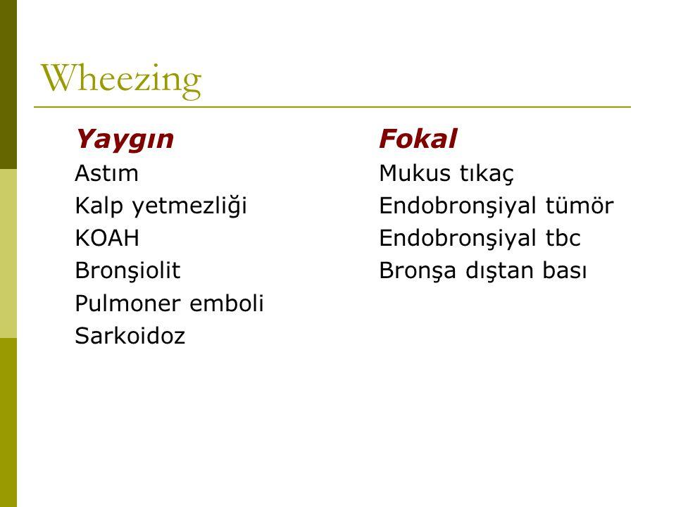 Wheezing YaygınFokal AstımMukus tıkaç Kalp yetmezliğiEndobronşiyal tümör KOAHEndobronşiyal tbc BronşiolitBronşa dıştan bası Pulmoner emboli Sarkoidoz