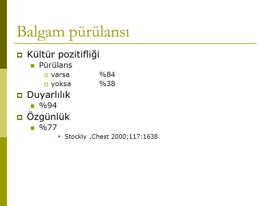 Balgam pürülansı  Kültür pozitifliği Pürülans  varsa%84  yoksa%38  Duyarlılık %94  Özgünlük %77  Stockly,Chest 2000;117:1638