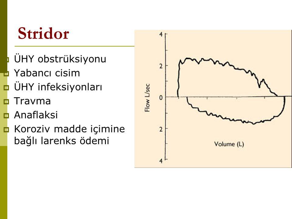 Stridor  ÜHY obstrüksiyonu  Yabancı cisim  ÜHY infeksiyonları  Travma  Anaflaksi  Koroziv madde içimine bağlı larenks ödemi
