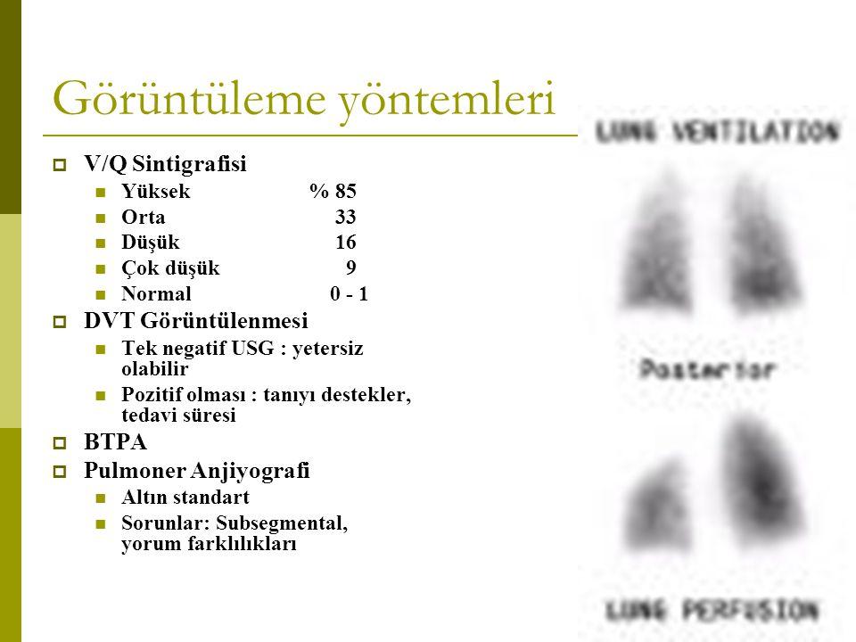 Görüntüleme yöntemleri  V/Q Sintigrafisi Yüksek% 85 Orta 33 Düşük 16 Çok düşük 9 Normal 0 - 1  DVT Görüntülenmesi Tek negatif USG : yetersiz olabili