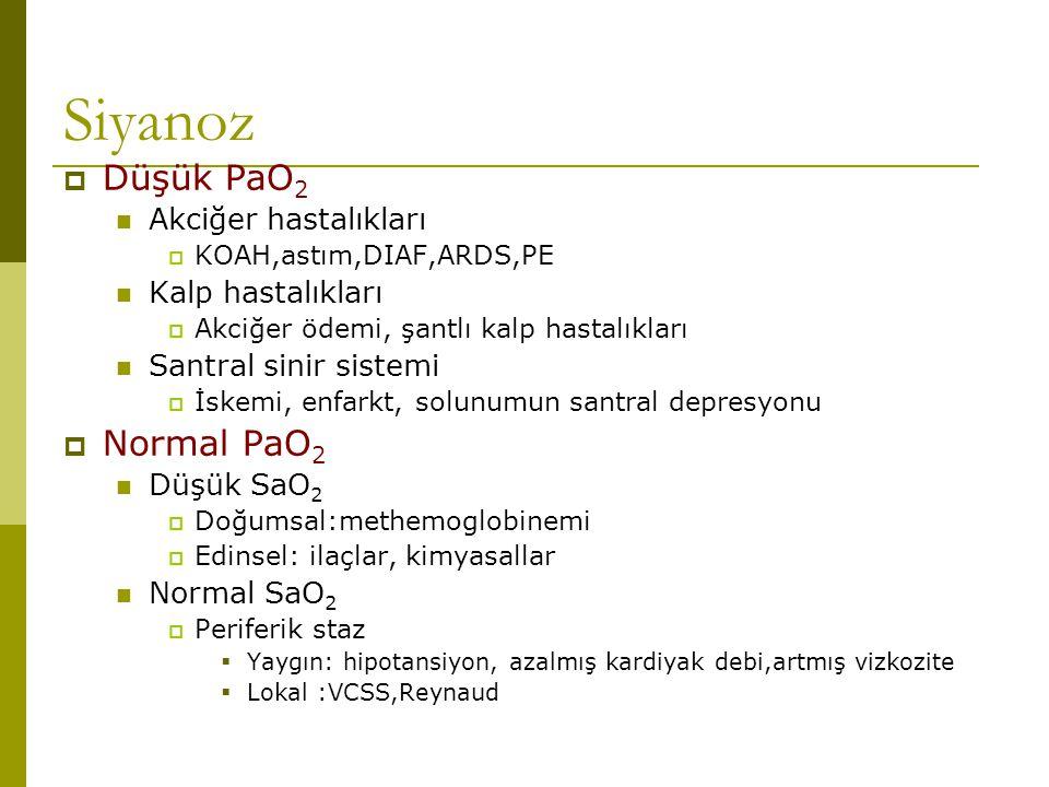 Siyanoz  Düşük PaO 2 Akciğer hastalıkları  KOAH,astım,DIAF,ARDS,PE Kalp hastalıkları  Akciğer ödemi, şantlı kalp hastalıkları Santral sinir sistemi