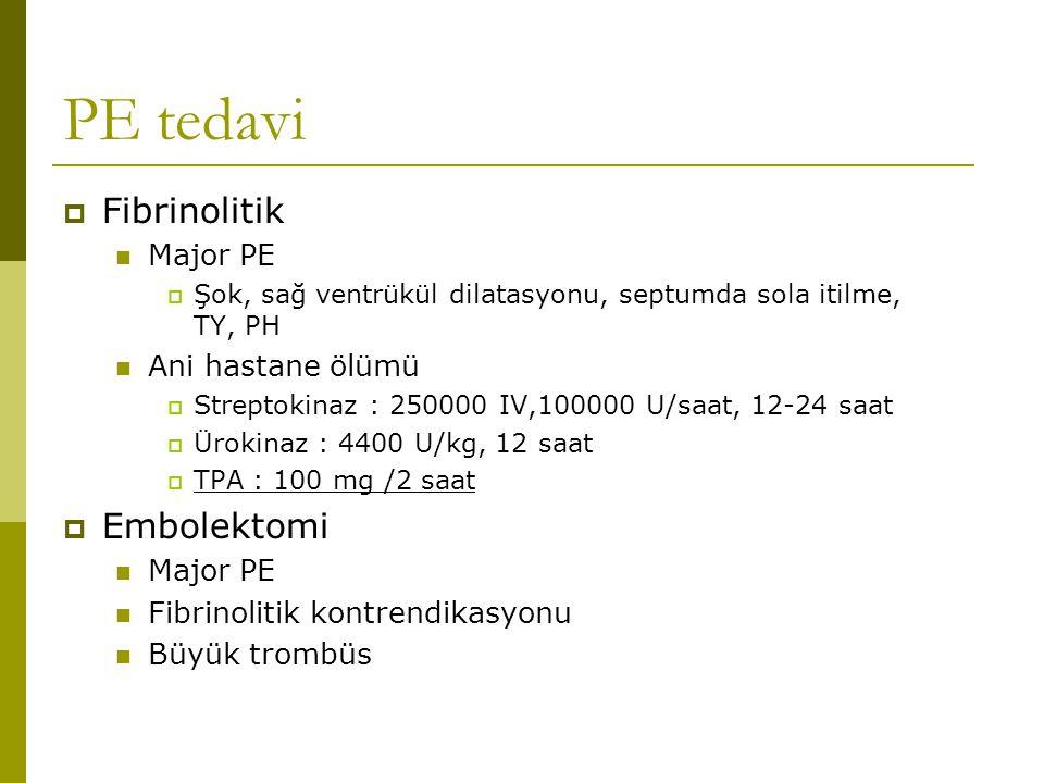 PE tedavi  Fibrinolitik Major PE  Şok, sağ ventrükül dilatasyonu, septumda sola itilme, TY, PH Ani hastane ölümü  Streptokinaz : 250000 IV,100000 U