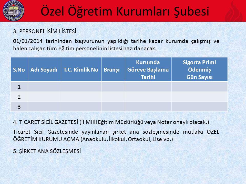 Özel Öğretim Kurumları Şubesi 3.