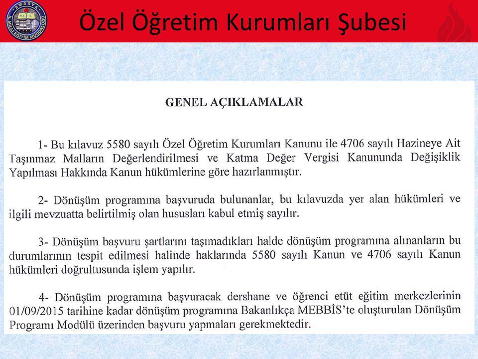 Özel Öğretim Kurumları Şubesi 2015/5 Sayılı Genelge