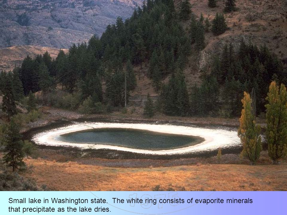 Small lake in Washington state. The white ring consists of evaporite minerals that precipitate as the lake dries.