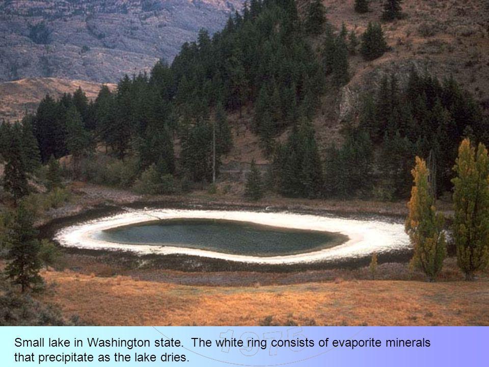 Deep Springs Lake, eastern California.As the lake dries, it leaves behind evaporites.