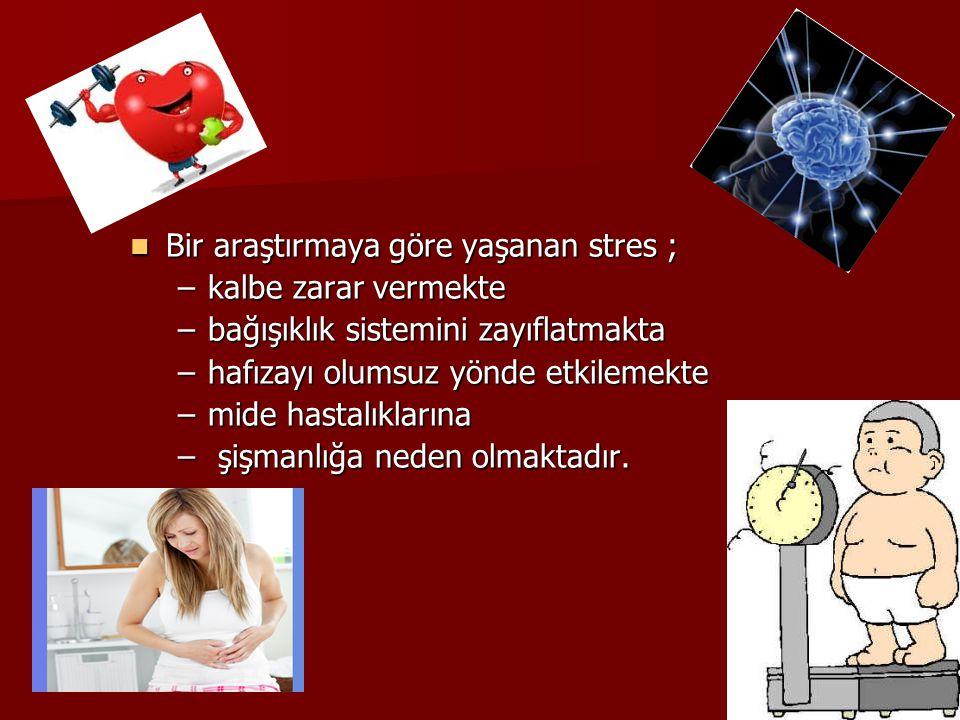 Bir araştırmaya göre yaşanan stres ; Bir araştırmaya göre yaşanan stres ; –kalbe zarar vermekte –bağışıklık sistemini zayıflatmakta –hafızayı olumsuz