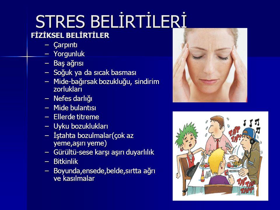 STRES BELİRTİLERİ FİZİKSEL BELİRTİLER –Çarpıntı –Yorgunluk –Baş ağrısı –Soğuk ya da sıcak basması –Mide-bağırsak bozukluğu, sindirim zorlukları –Nefes