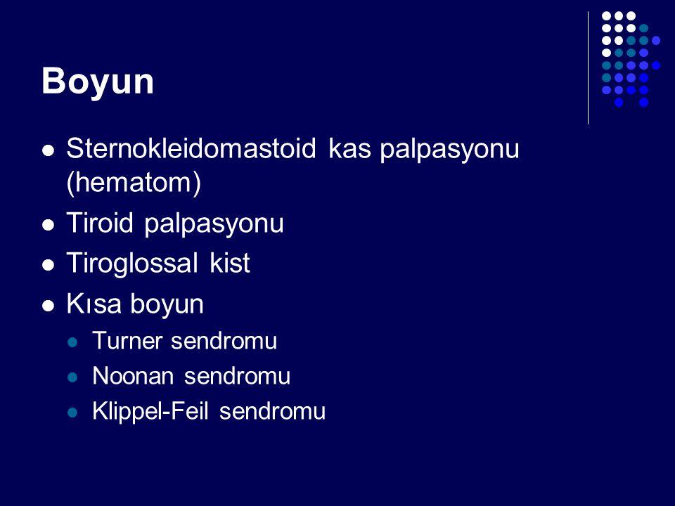 Boyun Sternokleidomastoid kas palpasyonu (hematom) Tiroid palpasyonu Tiroglossal kist Kısa boyun Turner sendromu Noonan sendromu Klippel-Feil sendromu