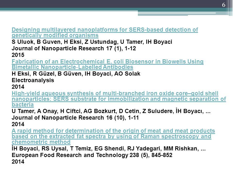 A novel method for discrimination of beef and horsemeat using Raman spectroscopy IH Boyacı, HT Temiz, RS Uysal, HM Velioğlu, RJ Yadegari, MM Rishkan Food chemistry 148, 37-41 2014 Spectroscopic detection of aspartame in soft drinks by surface-enhanced Raman spectroscopy GG Buyukgoz, AG Bozkurt, NB Akgul, U Tamer, IH Boyaci European Food Research and Technology, 1-9 2014 Glucose determination based on a two component self-assembled monolayer functionalized surface-enhanced Raman spectroscopy (SERS) probe H Torul, H Çiftçi, FC Dudak, Y Adıgüzel, H Kulah, İH Boyacı, U Tamer Analytical Methods 6 (14), 5097-5104 2014 SERS-based direct and sandwich assay methods for mir-21 detection B Guven, FC Dudak, IH Boyaci, U Tamer, M Ozsoz Analyst 139 (5), 1141-1147 2014 7