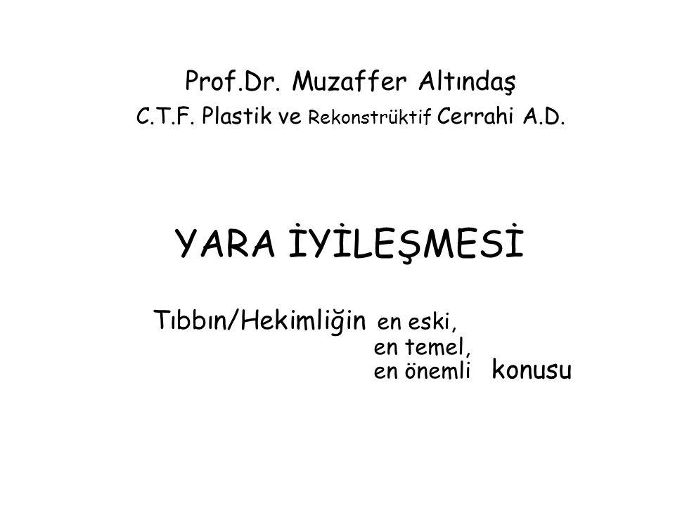 YARA İYİLEŞMESİ Tıbbın/Hekimliğin en eski, en temel, en önemli konusu Prof.Dr. Muzaffer Altındaş C.T.F. Plastik ve Rekonstrüktif Cerrahi A.D.