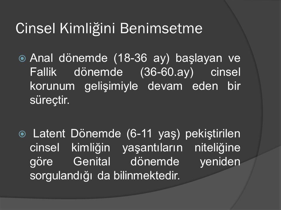 Cinsel Kimliğini Benimsetme  Anal dönemde (18-36 ay) başlayan ve Fallik dönemde (36-60.ay) cinsel korunum gelişimiyle devam eden bir süreçtir.  Late