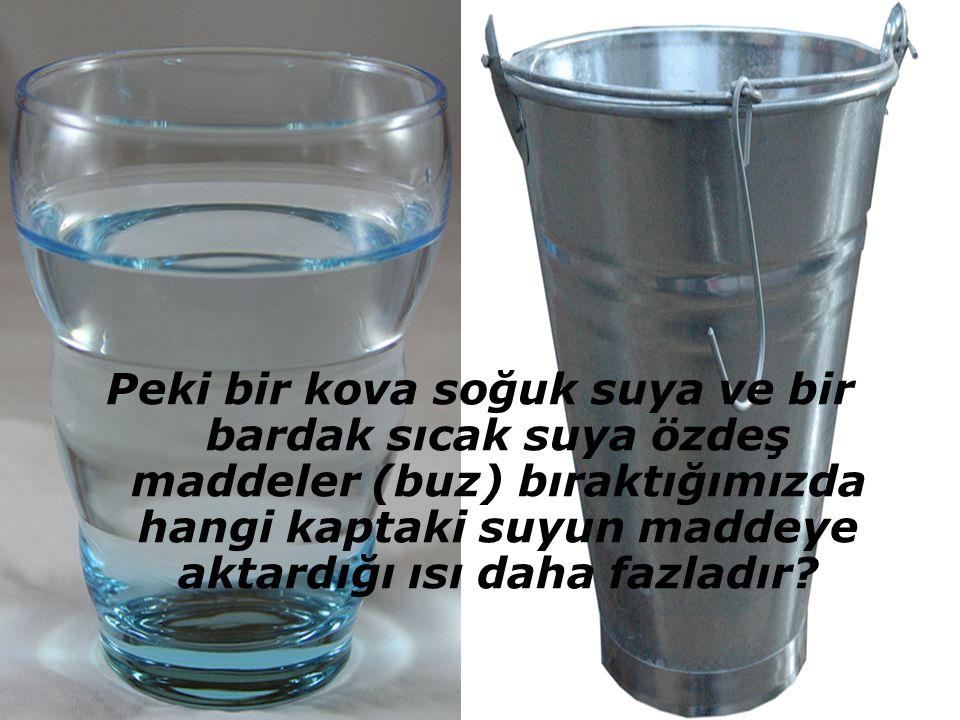 Peki bir kova soğuk suya ve bir bardak sıcak suya özdeş maddeler (buz) bıraktığımızda hangi kaptaki suyun maddeye aktardığı ısı daha fazladır?