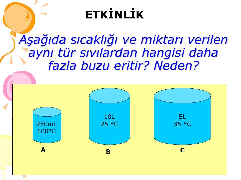 Aşağıda sıcaklığı ve miktarı verilen aynı tür sıvılardan hangisi daha fazla buzu eritir? Neden? 250mL 100°C 10L 25 °C 5L 35 °C A B C ETKİNLİK