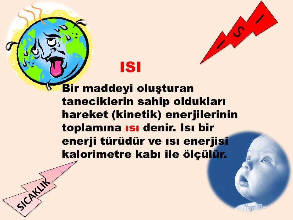 I S I SICAKLIK Bir maddeyi oluşturan taneciklerin sahip oldukları hareket (kinetik) enerjilerinin toplamına ısı denir. Isı bir enerji türüdür ve ısı e